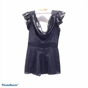 Bebe faux liquid leather flutter sleeve top size S